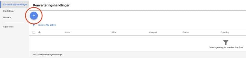 Oprettelsen af konverteringshandling i Google Ads