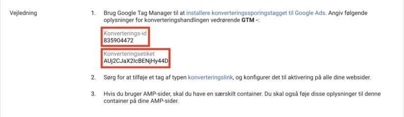 Konverterings-id og etiket i Google Ads